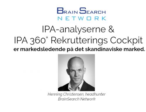"""Headhunter: """"IPA-analyserne og IPA 360° Rekrutterings Cockpit er markedsledende på det skandinaviske marked"""""""